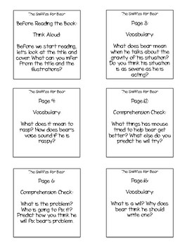 The Sniffles for Bear Interactive Read Aloud Sticky Note Questions