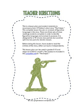 The Sniper: Figurative Language