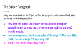 The Sniper Short Story Paragraph Prompt