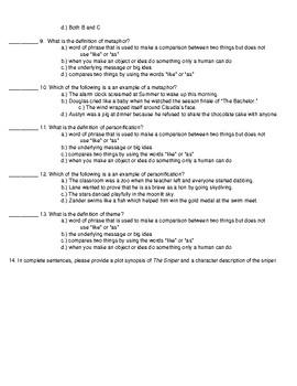 The Sniper Short Story Quiz