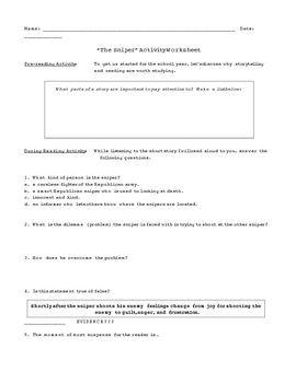 """The Sniper"" Short Story and Activity Workseets - Great Unit Starter"