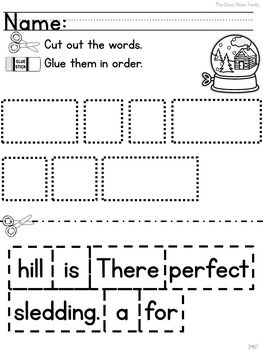 The Snow Globe Family: Free Mentor Sentence Lesson for Kinder, 1st, and 2nd