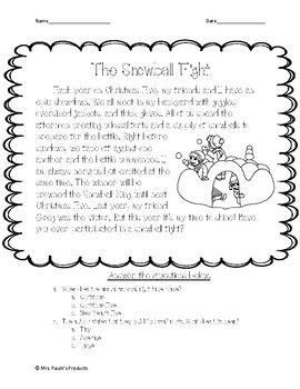 The Snowball Fight Reading Comprehension Passage and Questions
