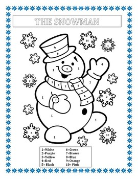 The Snowman- Color by Number -K-2- Winter Literacy