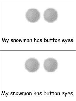 The Snowman Emergent Reader Preschool or Kindergarten Winter