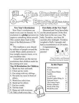 The Snowplow Express Newspaper Activities