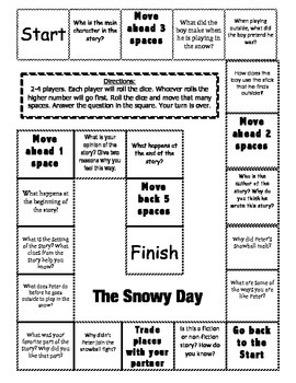 """""""The Snowy Day"""" Comprehension Game Board"""