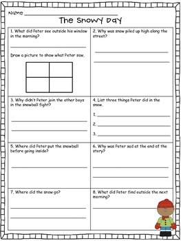 The Snowy Day Comprehension Questions