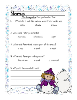 The Snowy Day Comprehension Test FREEBIE