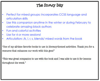The Snowy Day (Speech Therapy Book Companion)