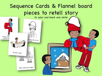 The Snowy Day Activity Pack:  sequence cards, flannel pieces, LA & Math, Books