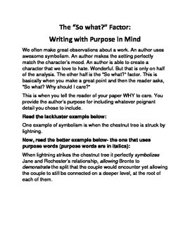 "The ""So What?"" Factor for AP Literature: Writing With Purpose in Mind"