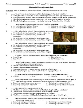The Social Network Film (2010) 20-Question Matching and Multiple Choice Quiz