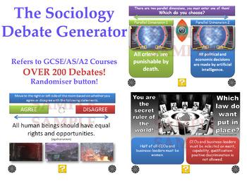 The Sociology Debate Generator! (200 Debates & Discussions for KS4&5) Randomiser