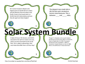 The Solar System By the Numbers Task Card Bundle