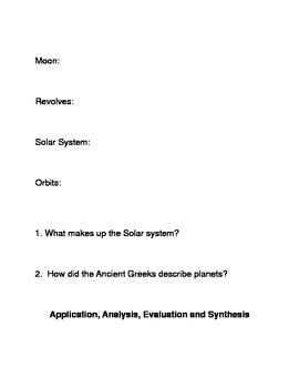 The Solar System Common Core Reading and Writing Activities
