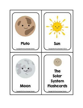 The Solar System Picture Word Flash Cards with Pluto