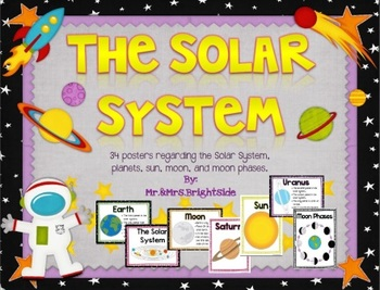 The Solar System Planet Facts And Moon Phases Posters