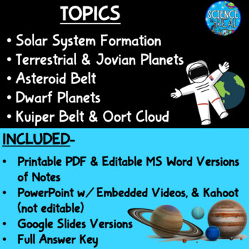 The Solar System PowerPoint, Student Notes, and KAHOOT!