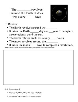 The Solar System: Revolve vs. Rotate Cloze Notes