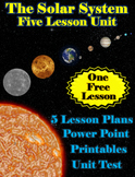 The Solar System Unit Bundle - 5 Lessons, Powerpoint, Printables & Test