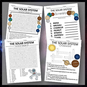 THE SOLAR SYSTEM- PUZZLE WORKSHEETS AND BINGO