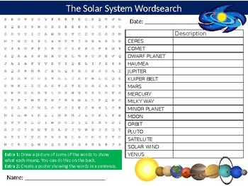 The Solar System Wordsearch Puzzle Sheet Keywords Science Physics Astronomy