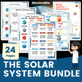 The Solar System Worksheets with Flashcards and Crossword