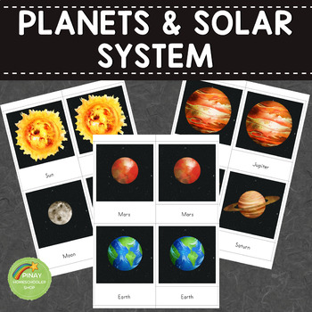 Planets and Solar System Montessori 3 Part Cards and Facts