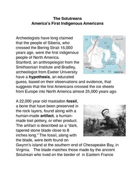 The Solutreans-the First Americans Common Core Activities