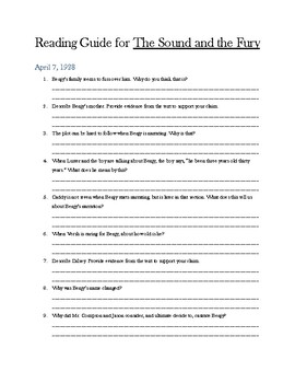 The Sound and the Fury William Faulkner reading guide/comprehension questions