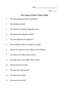The Sound of Music: Video Worksheet