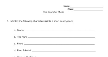 The Sound of Music (Movie Watching Question Packet)