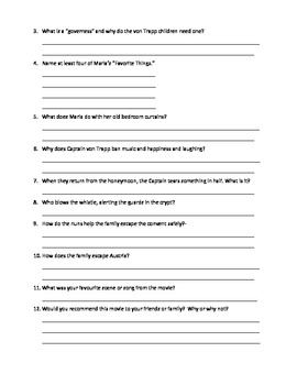 The Sound of Music video worksheet pdf