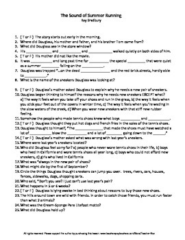 The Sound of Summer Running by Ray Bradbury Complete Guided Reading Worksheet