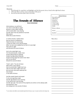 The Sounds of Silence - Compare/Contrast and Paragraph Assignment