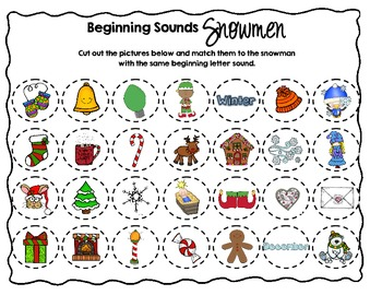 The Sounds of Winter - {A Beginning Sounds Matching Activity}