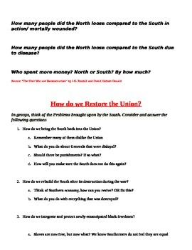 The South: After the Civil War Document Based Question