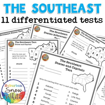 Southeast Region Map Test Quiz - United States Capitals + ...