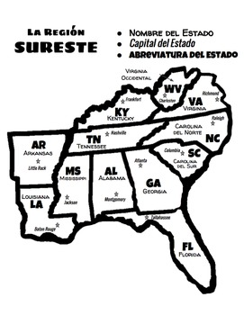 Southeast Region of the U.S. in English and Spanish