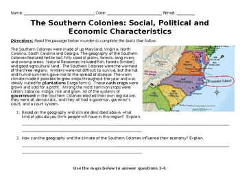 The Southern Colonies Social Political and Economic Characteristics