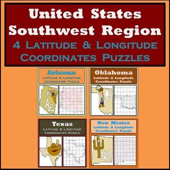 Latitude & Longitude Puzzles - The Southwest Region of the United States