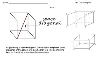 The Space Diagonal - Task Cards & Interactive Video Lesson!