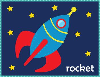 The Space Flash Cards Instant Download PDF; Preschool, Kindergarten, School