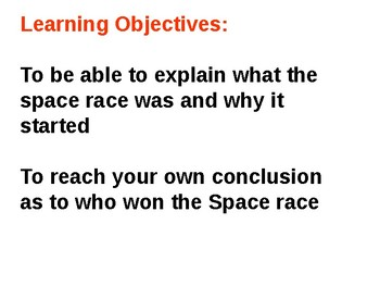 The Space Race - Cold War Quiz/Plenary