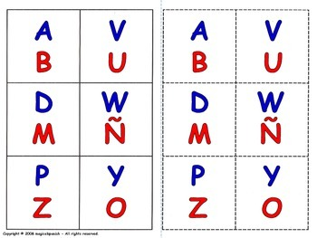 The Spanish Alphabet - Lottery (Board Game).