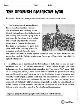 The Spanish-American War ELA Informational Text Test Prep Passage