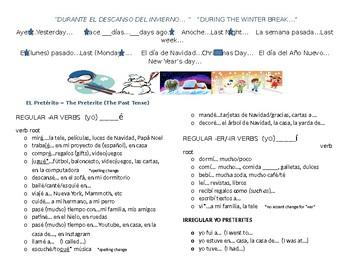 """Spanish Winter Break Preterite - Guided Practice - """"Yo"""" Regular and Irregular"""