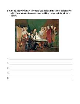 The Spanish verb SER  (to be) worksheet