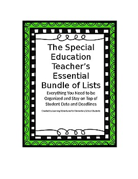 The Special Education Teacher's Essential Bundle of Lists
